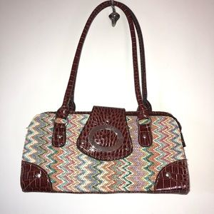 Cute Tote Purse Brown trimming with Pastel Colors